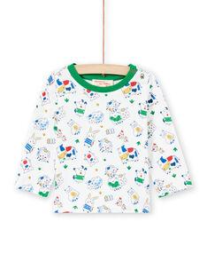 T-shirt branco e verde estampado animais bebé menino MUMIXTEE1 / 21WG10J1TML001