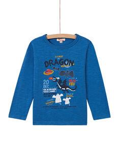 T-shirt azul padrão dragão menino MOPLATEE2 / 21W902O1TML221