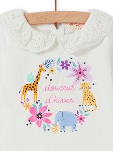 T-shirt cru gola em véu padrão florido decorativo bebé menina MIPLABRA / 21WG09O1BRA001