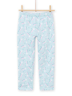 Conjunto pijama azul forrado com padrão unicórnio menina MEFAPYJFUR / 21WH1193PYJ201