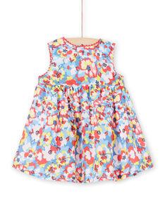 Vestido azul e vermelho estampado florido bebé menina LICANROB2 / 21SG09M4ROB706