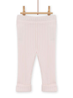 Leggings lisas rosa pálido caneladas bebé menina MYIJOLEGCO2 / 21WI0913CAL632