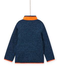 Casaco de malha azul acinzentado mesclado com aplicações laranja menino MOJOGITEK3 / 21W90213GIL219