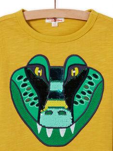 T-shirt amarelo padrão crocodilo com lantejoulas reversíveis menino MOKATEE2 / 21W902I3TML106