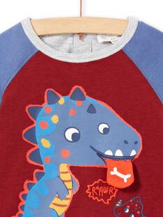 T-shirt azul, bordô e cinzento de mangas compridas padrão dinossauro bebé menino MUPATEE1 / 21WG10H1TML719