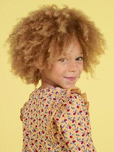Blusa mangas compridas mostarda com estampado florido menina MAMIXTEE1 / 21W901J3TMLB106