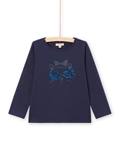 T-shirt de mangas compridas azul-noite padrão gato menina MAJOYTEE1 / 21W90113TMLC205