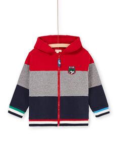 Sweat com capuz vermelho e cinzento às riscas criança menino LOHAGIL / 21S902X1GIL050