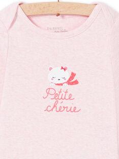 Body recém-nascido menina de mangas compridas rosa mesclado padrão ursinho LEFIBODCOU / 21SH132ABDLD314