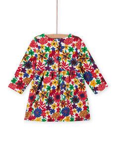 Vestido de mangas compridas com estampado florido colorido bebé menina MIMIXROB3 / 21WG09J2ROB001