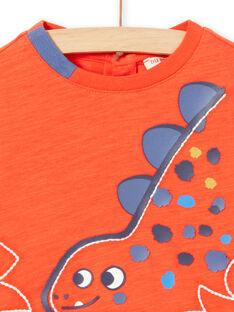T-shirt vermelha de mangas compridas padrão dinossauro bebé menino MUPATEE2 / 21WG10H3TMLF524