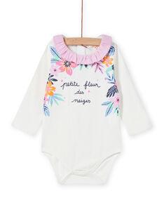 Body cru com gola aos folhos e estampado florido bebé menina MIPLABOD / 21WG09O1BOD001