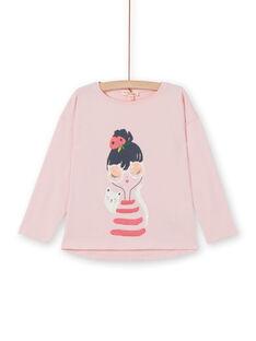 T-shirt mangas compridas estampado menina e gato LAROUTEE1 / 21S901K1TMLD326
