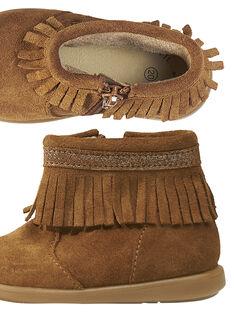 Boots crosta de couro camel com franjas bebé menina GBFBOOTINDC / 19WK37X2D0D804