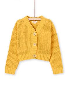 Cardigã de mangas compridas de malha amarelo menina MAMIXCAR1 / 21W901J2CARB106