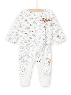 Casaco e babygro cru e cinzento estampado decorativo recém-nascido unissexo MOU1ENS1 / 21WF0542ENS001
