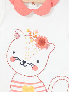 T-shirt branco mangas compridas com gola a contrastar LINAUBRA / 21SG09L1BRA001