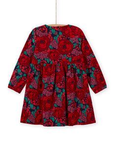 Vestido de mangas compridas estampado florido em veludo canelado menina MAFUNROB1 / 21W901M3ROBH703