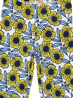 Leggings menina com flores azuis e amarelas JYATROLEG2 / 20SI01F2CAL001