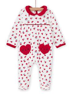 Babygro cru estampado corações bebé menina MEFIGREMIX / 21WH1331GRE001