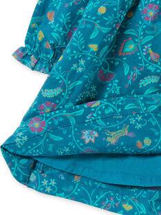 Vestido de mangas compridas azul pato com estampado florido menina MITUROB1 / 21WG09K3ROB714