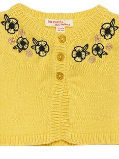 Cardigan em tricô amarelo bebé menina JITROCAR / 20SG09F1CAR102