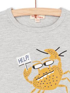 T-shirt cinzento e amarelo - Criança menino LONAUTI3 / 21S902P1TMCJ922
