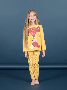 Conjunto pijama T-shirt e calças amarelo e laranja menina MEFAPYJFOX / 21WH1174PYG010