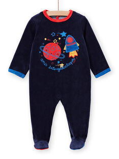 Babygro recém-nascido menino em veludo azul-marinho padrões espaço LEGAGRESPA / 21SH1452GRE713