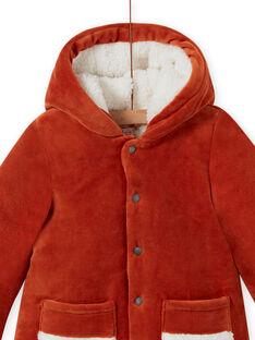 Parca com capuz e padrão de raposa em veludo canelado bebé menino MUGROPAR / 21WG1051PAR408