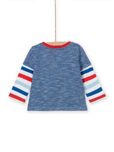 T-shirt azul e vermelho bebé menino LUCANTEE3 / 21SG10M3TML707