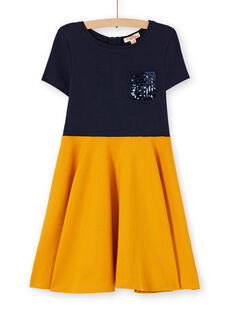Vestido patinadora em milano azul-marinho e mostarda LAJOROB2 / 21S90134D2FC205