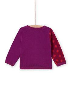 Cardigã em malha violeta com padrão leopardo bebé menina MIPACAR / 21WG09H2CAR712