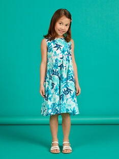 Vestido branco e azul estampado folhagem menina LAVEROB3 / 21S901Q1ROB001