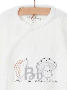Babygro cru padrão decorativo recém-nascido unissexo MOU1GRE1 / 21WF0541GRE001