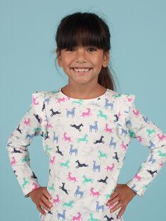 T-shirt cru e rosa estampado unicórnio menina MAPLATEE3 / 21W901O2TML001
