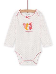 Body branco às bolas com padrão de animais bebé menina MEFIBODAMI / 21WH13C5BDL001