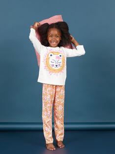 Conjunto pijama T-shirt e calças branco e laranja menina MEFAPYJLEO / 21WH1133PYJ001