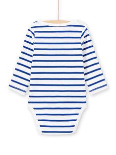 Body branco de mangas compridas às riscas padrão monstro bebé menino MEGABODMON / 21WH14B3BDL000