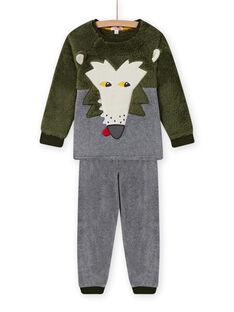 Conjunto pijama com padrão de lobo em soft boa menino MEGOPYJBOA / 21WH1294PYJ628