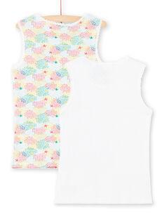 Lote de 2 camisolas de alças branco e verde menina LEFADELSTA / 21SH1123HLI000