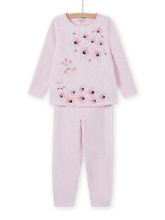 Conjunto pijama rosa mesclado padrão pavão menina MEFAPYJPEA / 21WH1132PYJD314