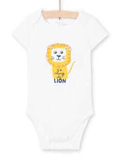 Body de mangas curtas branco padrão leão bebé menino MEGABODLIO / 21WH14B4BDL000
