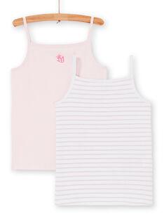 Lote de 2 camisolas de alças rosa e branco criança menina LEFADELFRU / 21SH1122HLI301