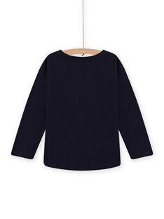 T-shirt azul-noite com padrão gato-unicórnio menina MAMIXTEE3 / 21W901J2TMLC205
