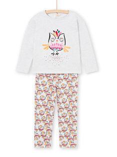 Pijama T-shirt e calças cinzento mesclado e amarelo menina LEFAPYJOWL / 21SH1152PYJJ920
