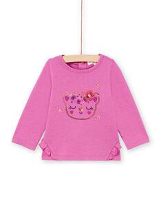 T-shirt mangas compridas rosa com padrão cabeça de leopardo com purpurinas bebé menina MIPATEE2 / 21WG09H3TMLH705