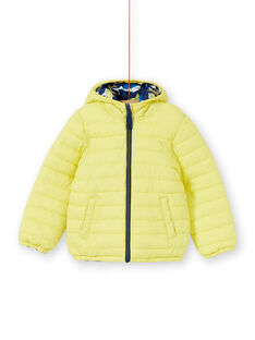 Blusão reversível com capuz amarelo e azul criança menino LOGROBLOU2 / 21S902R4BLO070