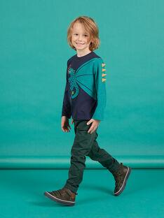 Calças em sarja verde escuro menino MOTUPAN2 / 21W902K2PANG618