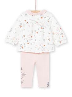 Camisa branca e leggings rosa estampado decorativo recém-nascido menina MOU1ENS2 / 21WF0341ENS001